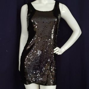 ALYN PAIGE NY black sequins club tank dress